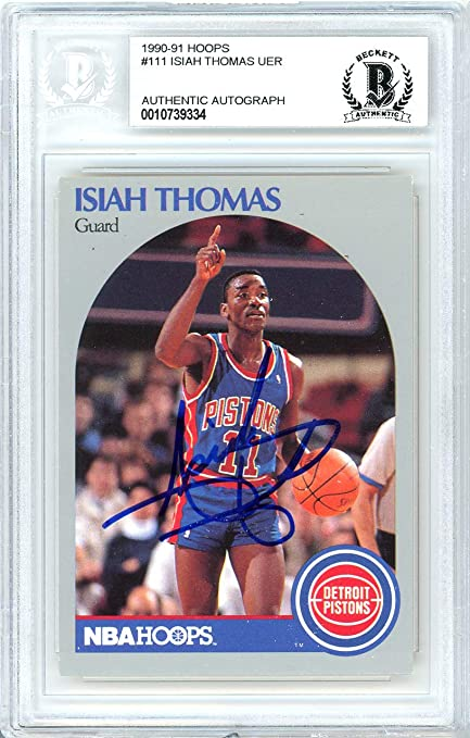 ae12edd2e Isiah Thomas Autographed 1990-91 Hoops Card Autographed  111 Detroit Pistons  - Beckett Authentic