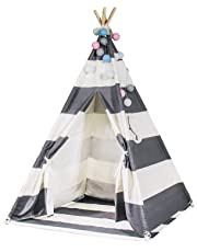 Durable Teepee for Kids, FoFxly Indian Play Tent, Stable Tipi, The Safest Children's Playhouse with Window/Floor, Wooden Poles & Sturdy Cotton Canvas & Nylon Strap & Non-Slip End Cover (Grey Stripe)