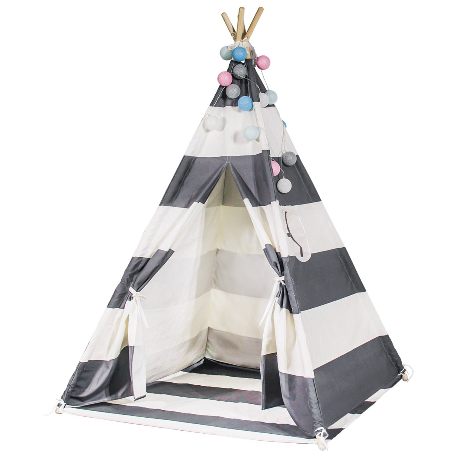 Touch-Rich 6FT Durable Teepee for Kids, Indian Play Tent, Sturdy & Safe Kids' Furniture with Window & Floor, Including Style Matching Accessories (stripe grey teepee)