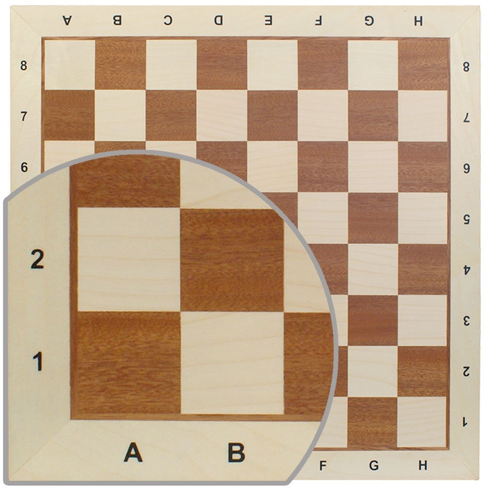 Chess Board No. 6 - Exact Detail and Lettering for Professional Tournament Use - Mahogany and Sycamore Wood by Wegiel