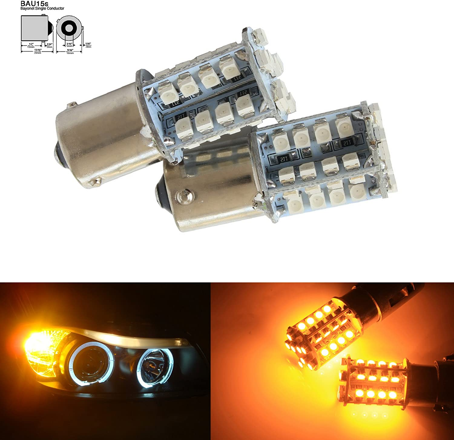 19 LED 581 AMBER FRONT INDICATOR SIGNAL TURN LIGHT BULBS LAMPS BAU15S PY21W 12V