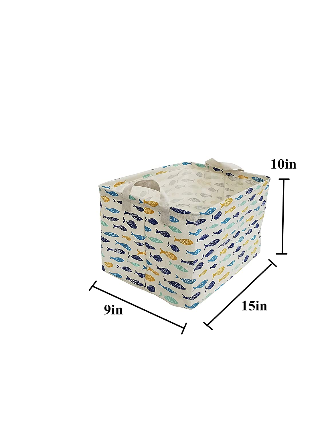 ESSME Square Storage Bin,Cotton Fabric Laundry Baskets,Collapsible Waterproof Toy Storage Bin with Handles for Family Storage,Shelf Baskets 13/×13 inches Cactus