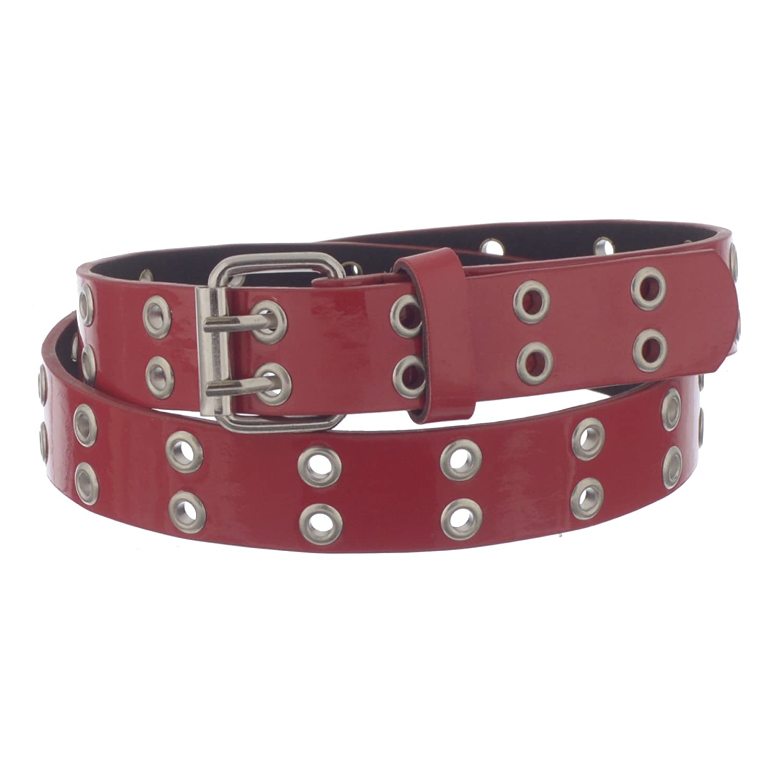 Xcessoire Girls 1' Wide Double Grommet PU Leather Belt 8) LANG_15641A_8_DKBLU