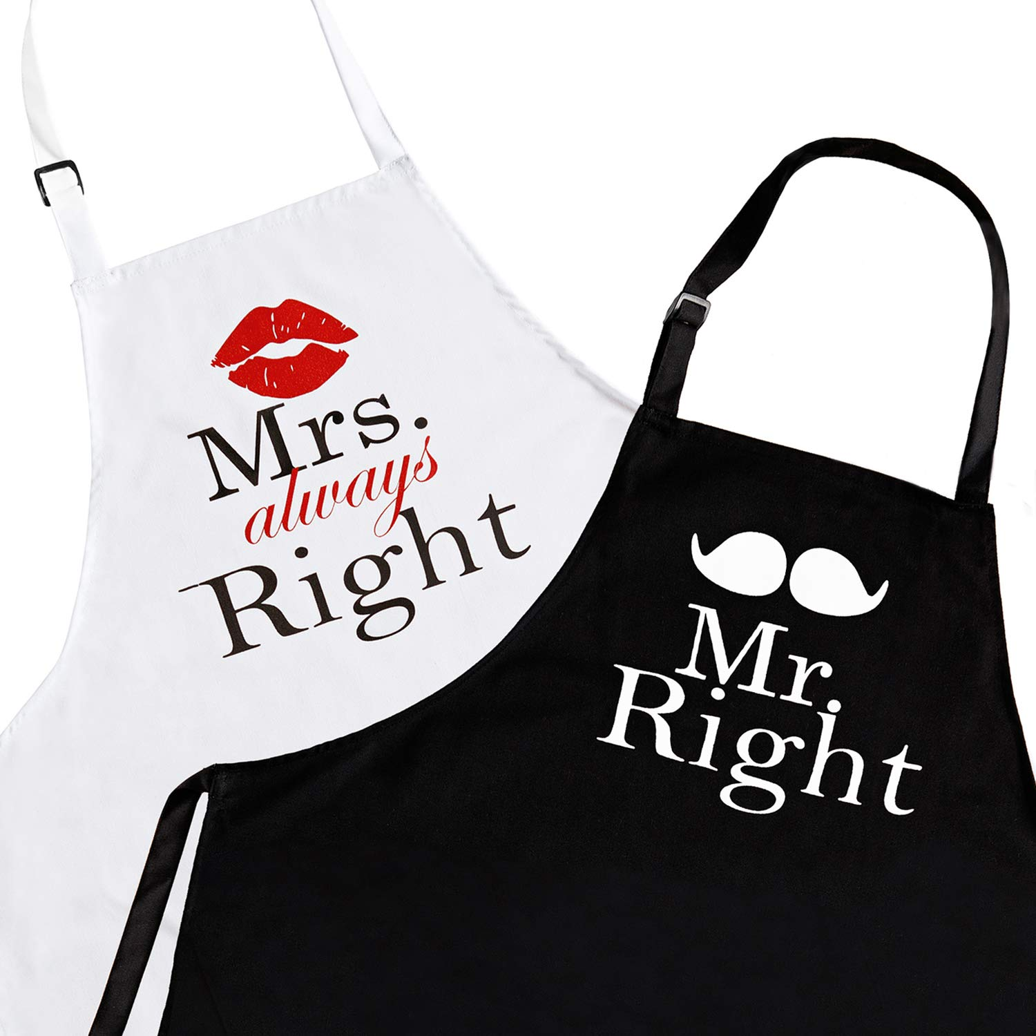 Mr. Right and Mrs. Always Right 2-Piece Kitchen Apron Set - Matching Engagement Wedding Anniversary Bridal Shower Gift For Bride StarGifts
