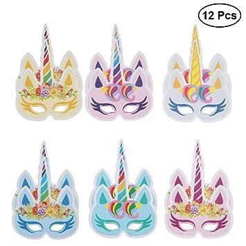LUOEM 12pcs fiesta de cumpleaños máscaras colorido Unicornio máscara fiesta suministros decoración para niños y adultos