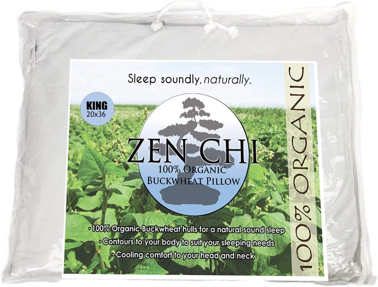 "ZEN CHI Buckwheat Pillow- Organic King Size (20""X36"") w Natural Cooling Technology- All Cotton Cover w Organic Buckwheat Hulls"