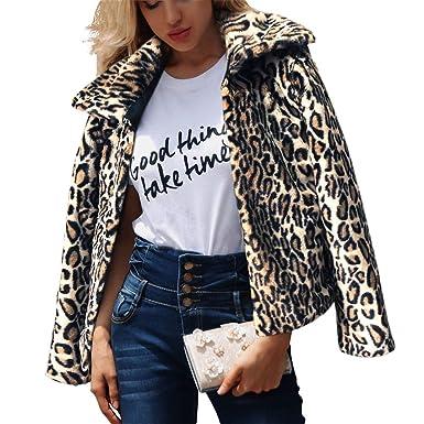 bce1db50e23f XZMY Women Leopard Print Faux Fur Coat Long Sleeve Short Lapel Jacket  Outerwear at Amazon Women's Coats Shop