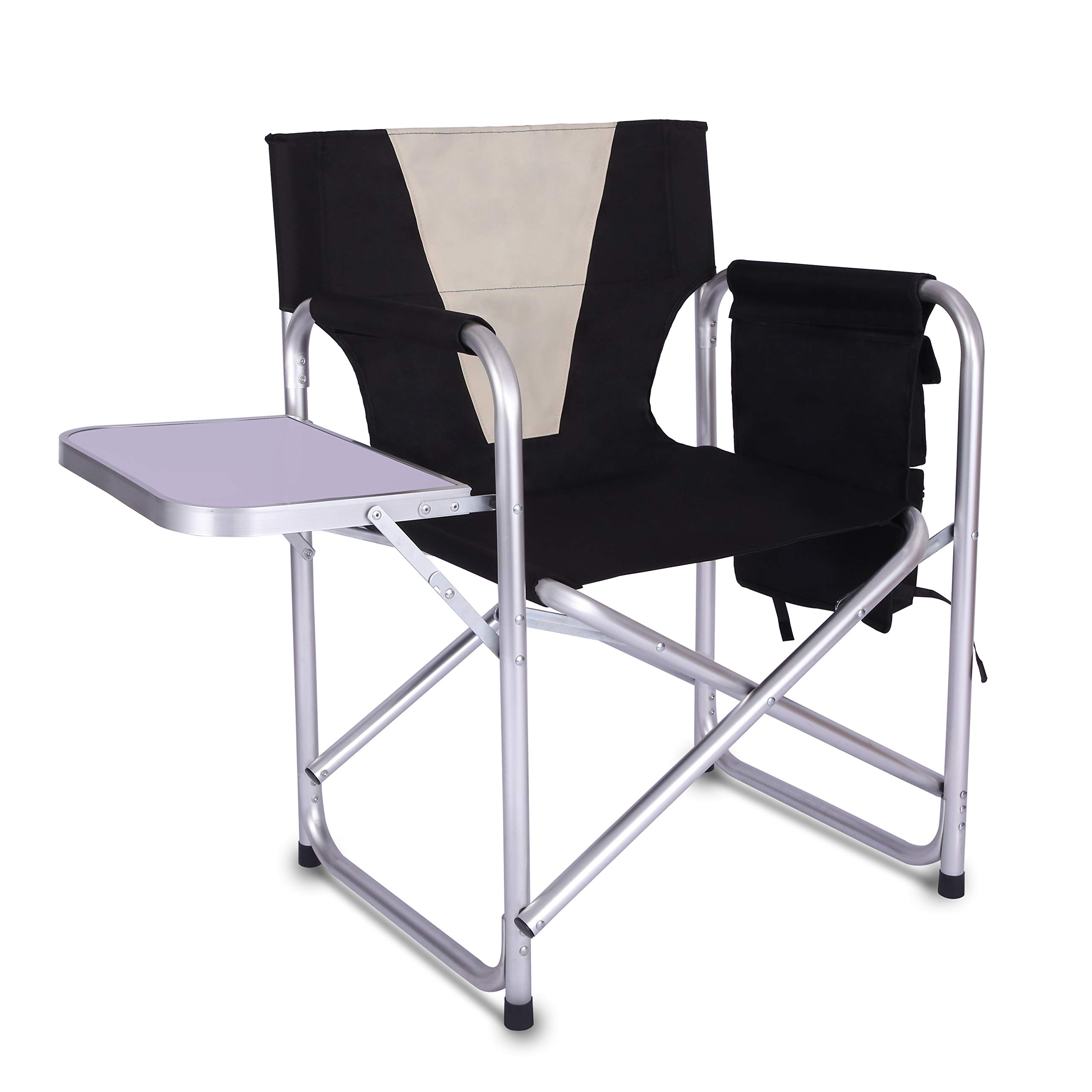 Camping Folding Director's Chair - Full Back Aluminum Lightweight Chair Supports 300lbs with Aluminum Side Table Storage Bag Indoor Outdoor,Weight 8.37 lbs by Shaddock Fishing