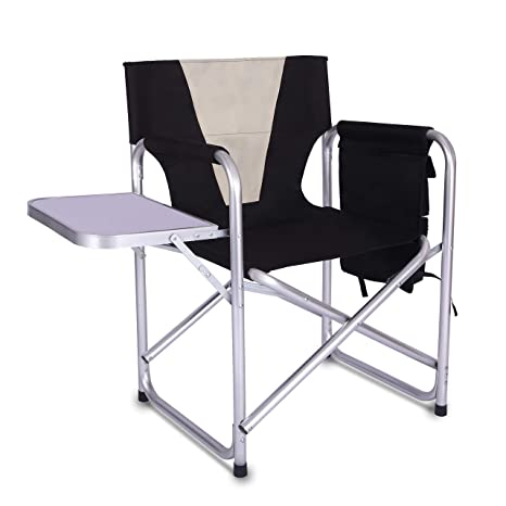 Astonishing Camping Folding Directors Chair Full Back Aluminum Lightweight Chair Supports 300Lbs With Aluminum Side Table Storage Bag Indoor Outdoor Weight Uwap Interior Chair Design Uwaporg