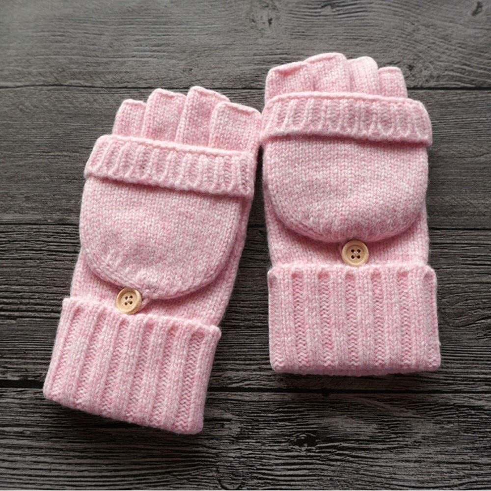 AXZHYX Household Personality handrail Half Finger Riding Wind and Cold Gloves Flip Wool Knit Warm Mitten Winter Plus Velvet Thick Wool Gloves Write Driving Touch Screen Mitten (Color : Pink)