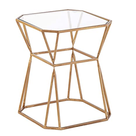 huge selection of 289be 1e3bd Amazon.com: Geometric End Table - Glass Table Top w/Open ...
