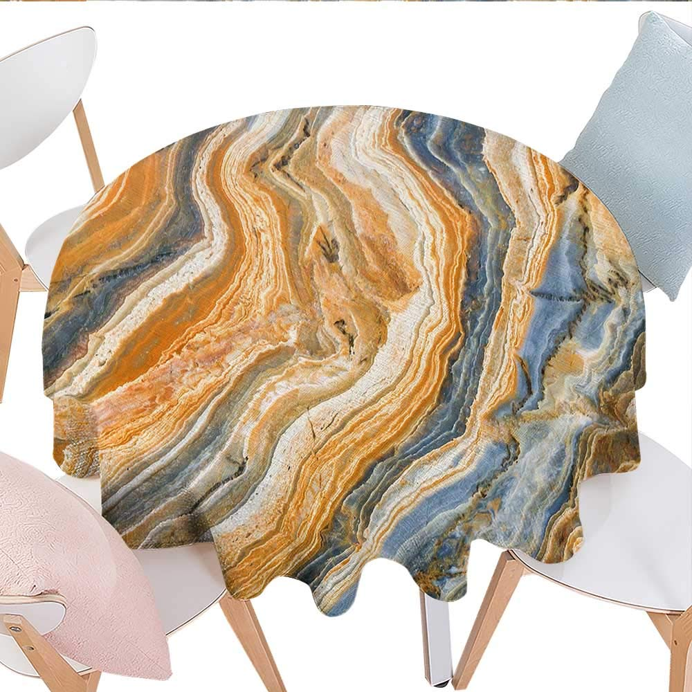 """longbuyer Marble Oval Tablecloth Colorful Rock Quartz Surface Background Formation Abstract Picture Picnic Table Tablecloth 36"""" Round Slate Blue Orange Apricot"""
