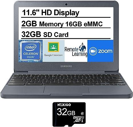 Amazon Com 2020 Samsung Chromebook 11 6 Inch Non Touch Laptop Intel Celeron N3060 Up To 2 48 Ghz 2gb Lpddr3 Ram 16gb Emmc Wifi Bluetooth Hdmi Webcam Chrome Os Nexigo 32gb Microsd Card Bundle