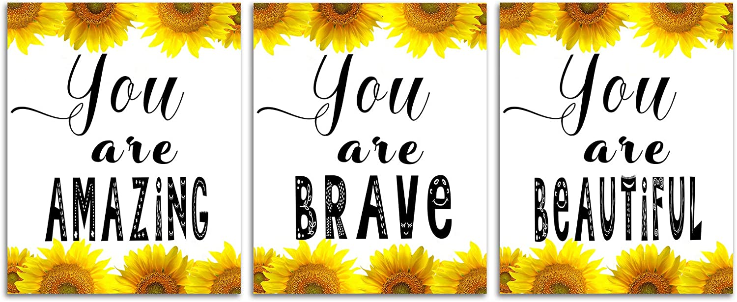 Sunflower Inspirational Wall Decor Art - Positive Quotes Yellow Flower Canvas Pictures Motivational Posters for Office Classroom Home Farmhouse Bathroom Decorations Inspiring Prints 8x10inch Unframed