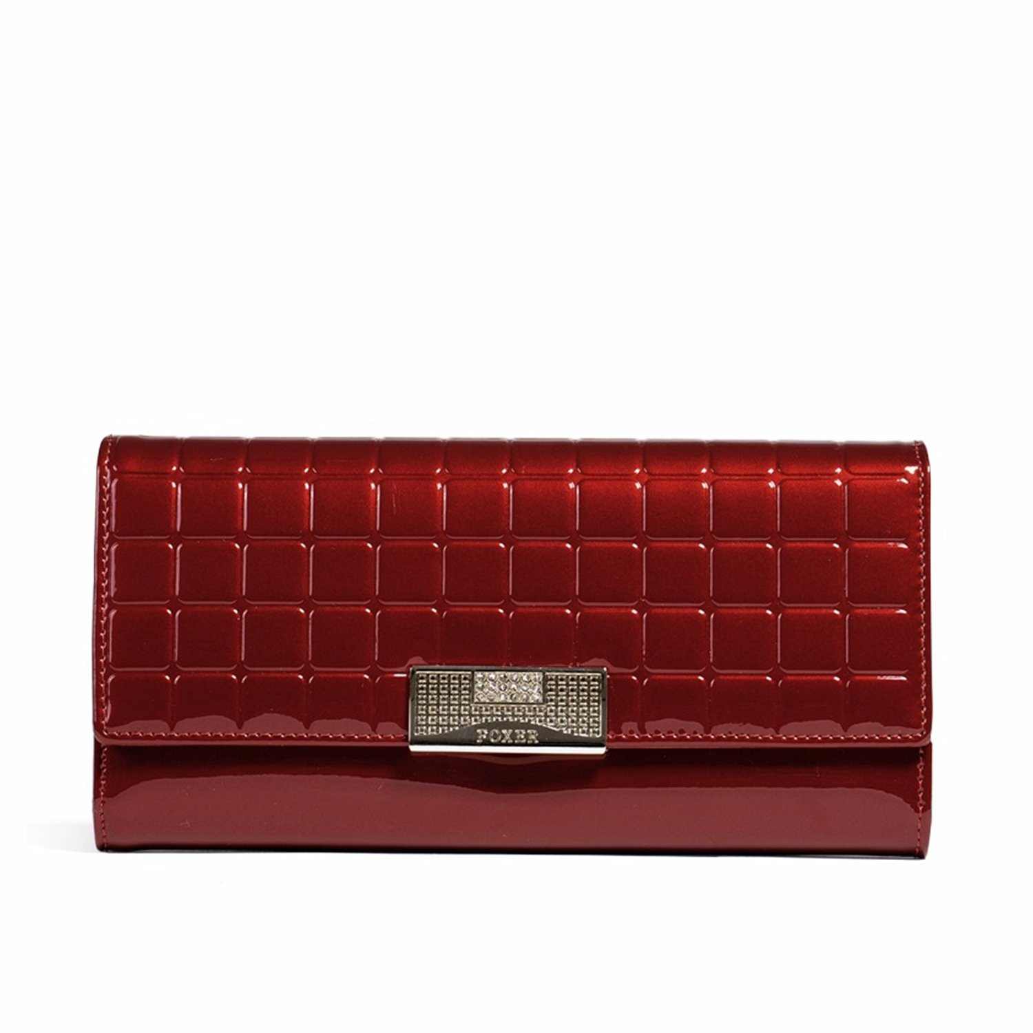 MATAGA Wallets for Women Leather Long Female Purse Lattice Bright Clutch Holder Bags for Ladies JHFX213005 Red