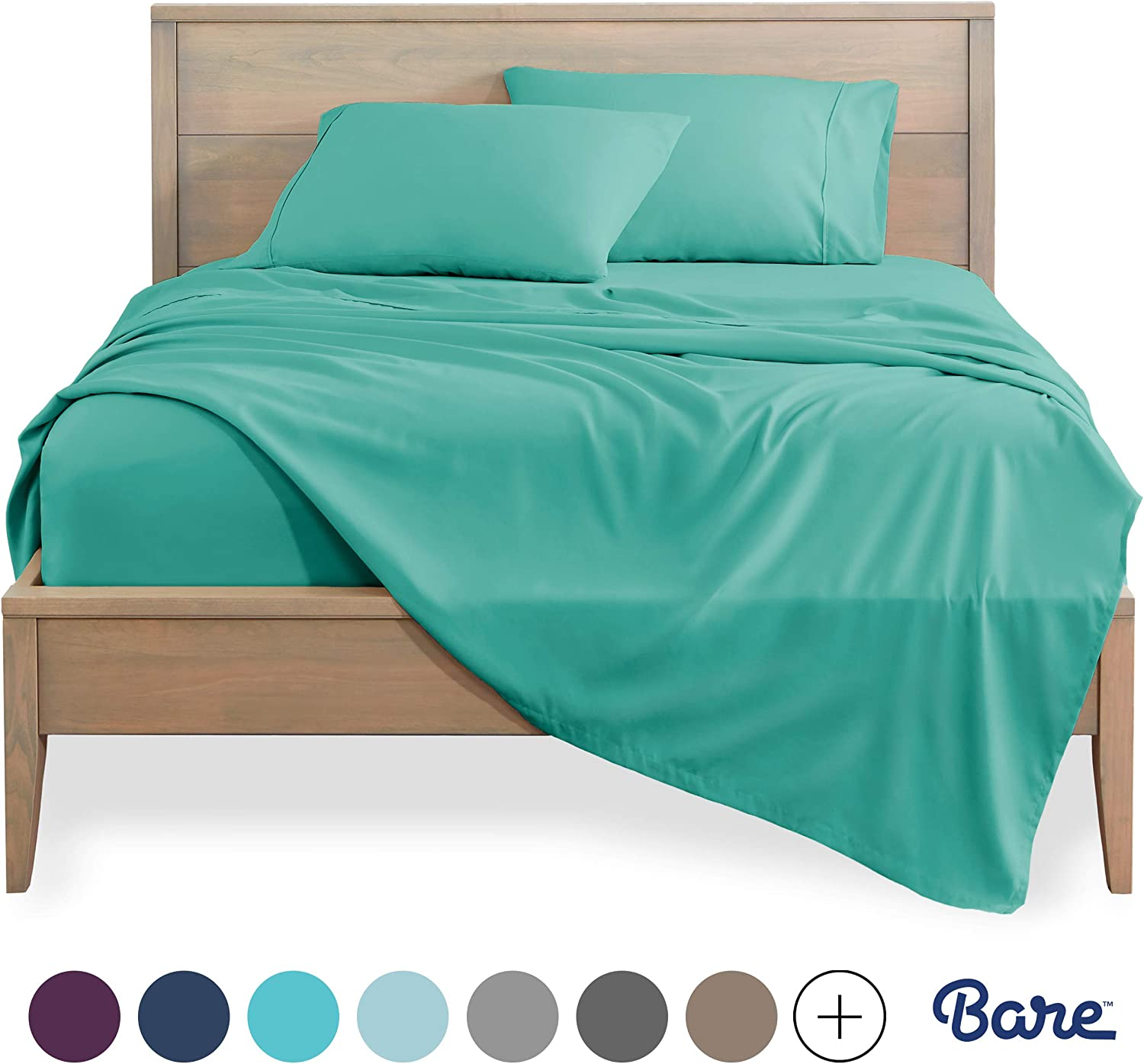 Bare Home Full XL Sheet Set - Kids Size - Premium 1800 Ultra-Soft Microfiber Sheets Full Extra Long - Double Brushed - Hypoallergenic - Wrinkle Resistant (Full XL, Turquoise)
