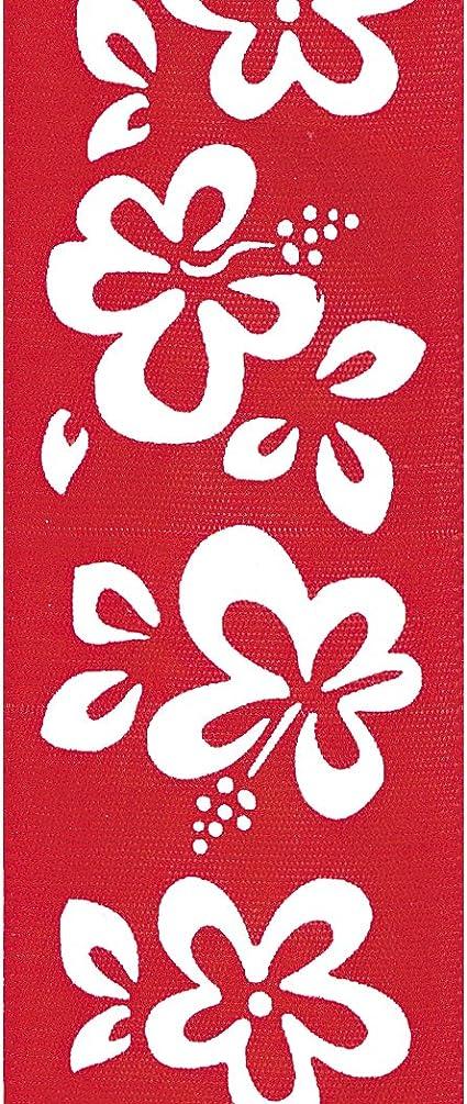 "2x Craft Ribbon Spool Hawaiian Hibiscus Design Nylon 2.5/"" wide 10 Yd Roll 71443"