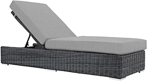 Modway Summon Wicker Rattan Aluminum Outdoor Patio Poolside Chaise Lounge Chair with Sunbrella Fabric Cushions in Canvas Gray