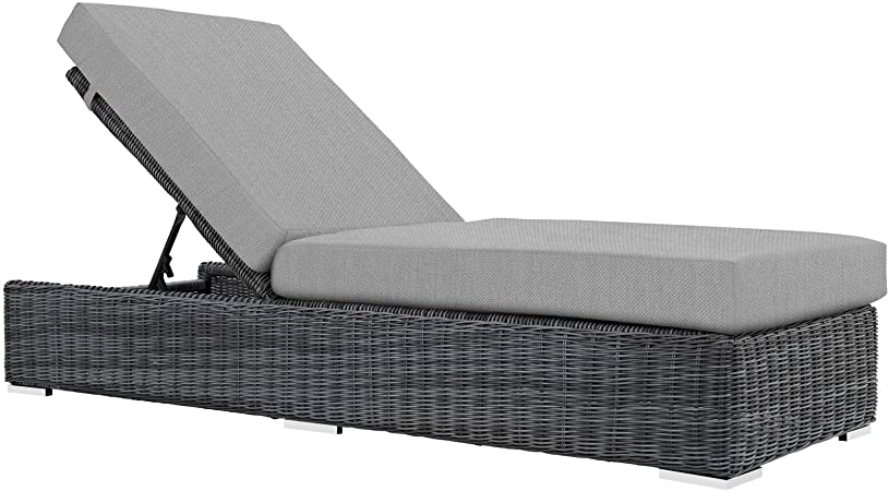 Amazon Com Contemporary Modern Outdoor Patio Pool Lounge Chair Chaise Grey Gray Sunbrella Fabric Rattan Wicker Garden Outdoor