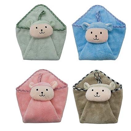 Ceqcin - Toallas de Mano para niños, 4 Unidades, absorbentes, para Colgar