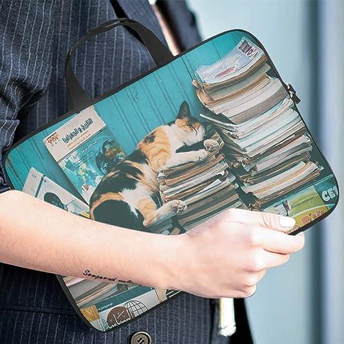 Cat Faule Schlafbucher Laptoptasche Design Laptop Tasche Tasche Tasche Weich Kratzfest Laptop Handtasche mit Tragbarem Griff fur Damen Herren Weis 10 Zoll