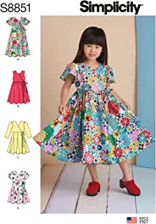 product image for Simplicity Girl's Full Skirt Dress Sewing Patterns, Sizes 3-8