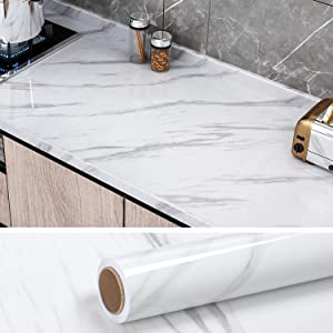 "VEELIKE White Marble Counter Top Covers Peel and Stick Wallpaper Self Adhesvie White Waterproof Removable Wall Paper Marble Contact Paper Decorative for Kitchen Cabinet Locker 15.7""X354"""