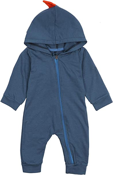 Infant Toddler Baby Girls Boys Dinosaur Hoodie Romper Zip Clothes Jumpsuit Sannysis Long-Sleeve Bodysuits