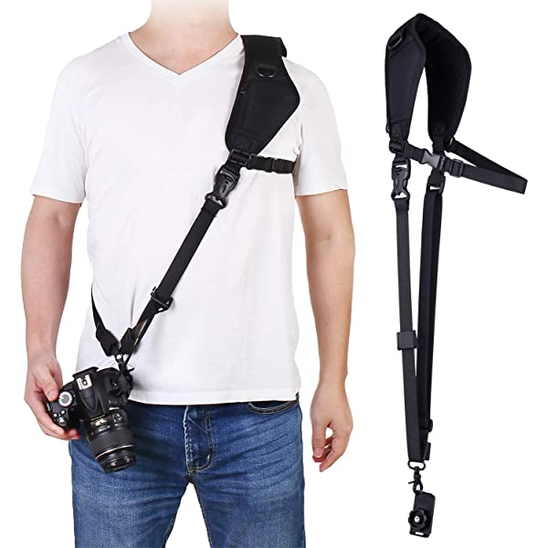 Nicama CS1 Rapid Action Camera H Shoulder Neck Sling Strap with Quick Release Clip /& Neoprene//Vintage Leather Shoulder Pad for Canon EOS Nikon Sony Olympus Pentax /& Panasonic DSLR /& Mirrorless Cameras