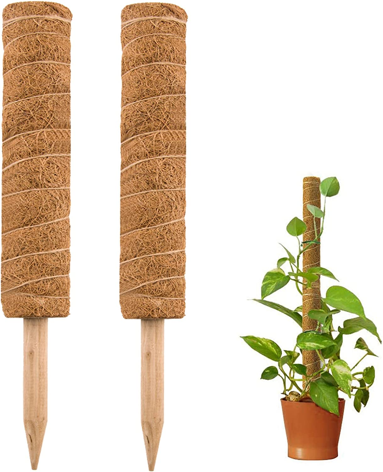 Tingyuan Moss Pole 17.7 inch Coir Totem Pole Stick Plant Support for Monstera and Climbing Plants (2 Pack)