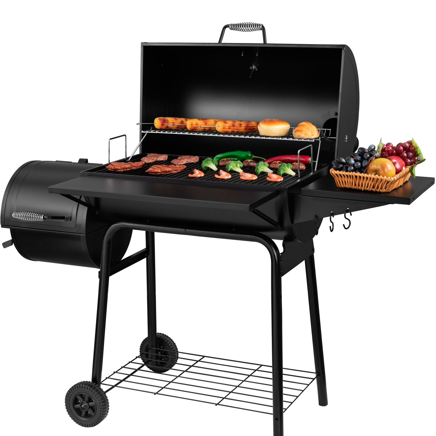 Royal Gourmet BBQ Charcoal Grill and Offset Smoker, 30'' L, 800 Square Inch, Outdoor for Camping, Black by Royal Gourmet (Image #2)