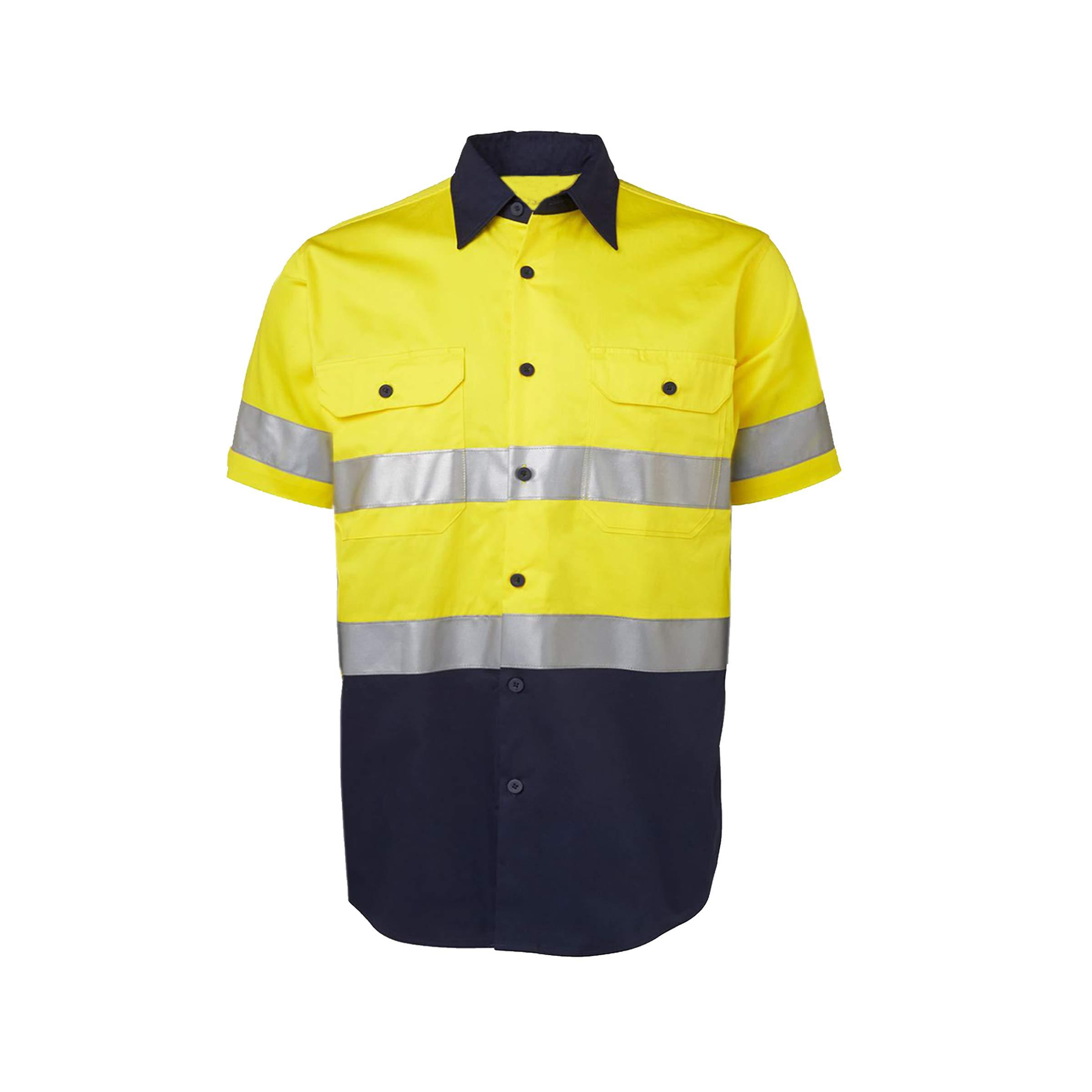 Hi Vis Safety Work Shirt 155gsm Light Wight,Short Sleeve,Reflective Vents Tops