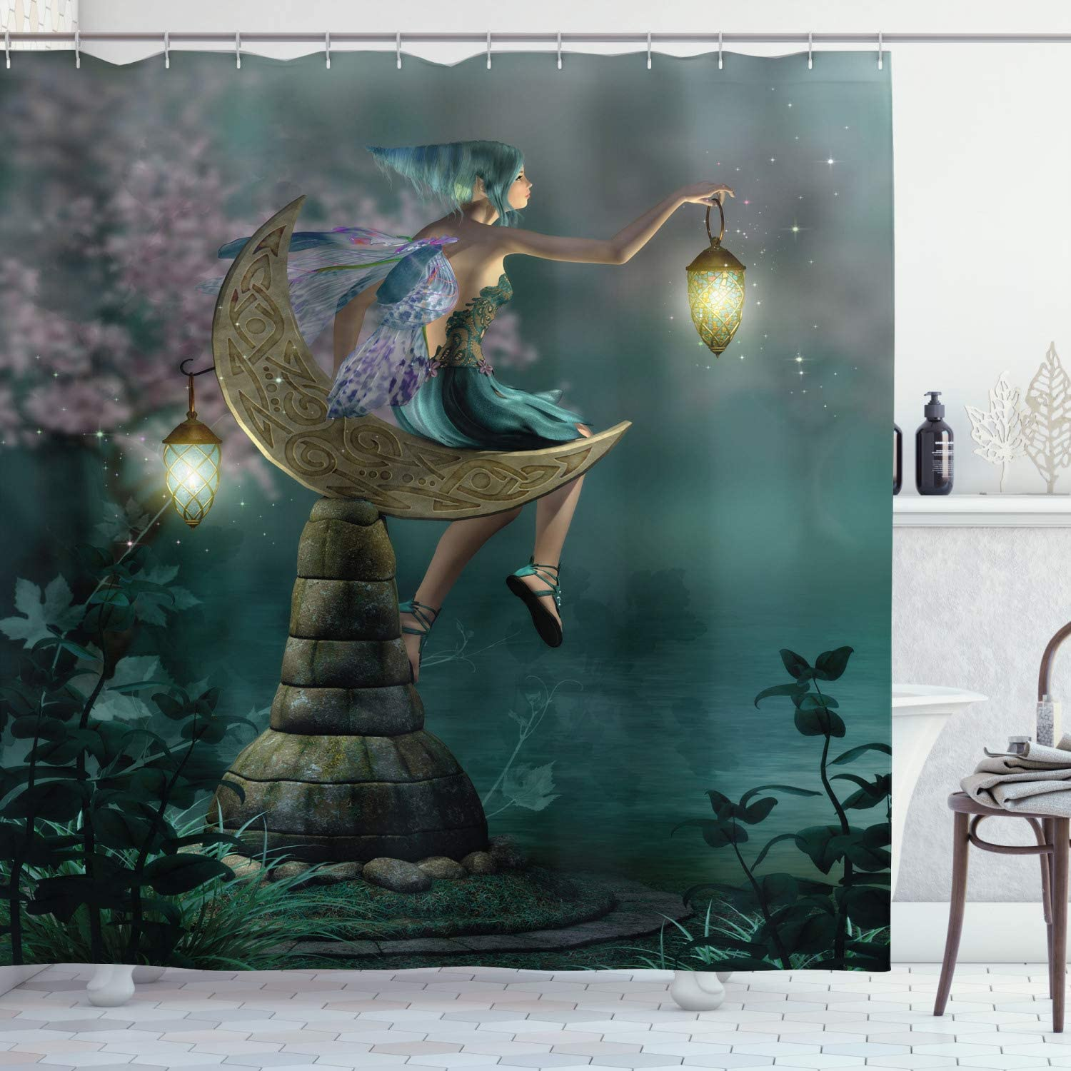Ambesonne Fantasy Shower Curtain, Little Pixie with Lantern Sitting Moon Stone Fairytale Myth Artwork, Cloth Fabric Bathroom Decor Set with Hooks, 70