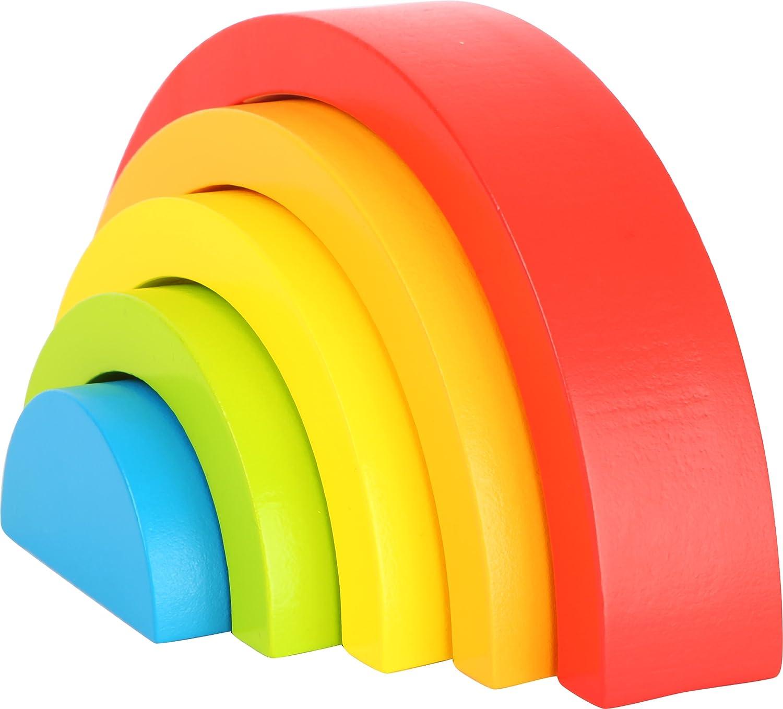 Small Foot 10585 Babymotorikspielzeug Regenbogen mit fünf Formen, ideales Greifspiel für die ersten Monate Small foot by Legler