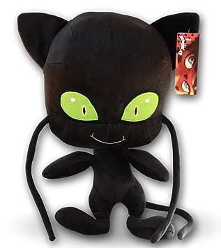 Plagg 35cm Peluche Kwami de Adrien Prodigiosa Las aventuras de Ladybug Gato Negro con Bigotes Tamaño