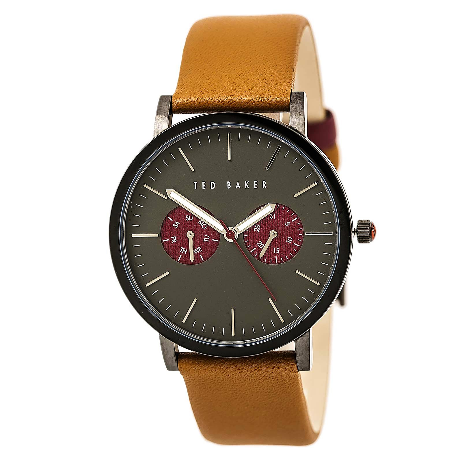 Ted Baker Men's 'Smart Casual' Quartz Stainless Steel and Leather Dress Watch, Color:Brown (Model: 10024783)