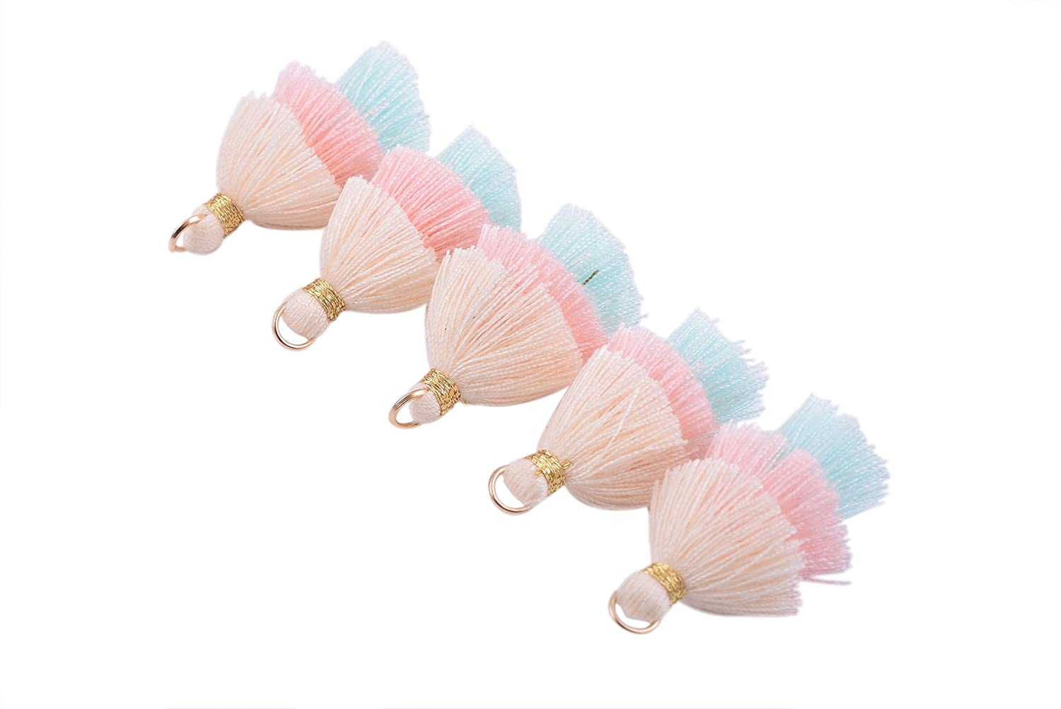 Tiny Tri-Layered Tassels with Gold Jump Ring for Jewelry Making 3.5cm Clothing KONMAY 10pcs 1.4