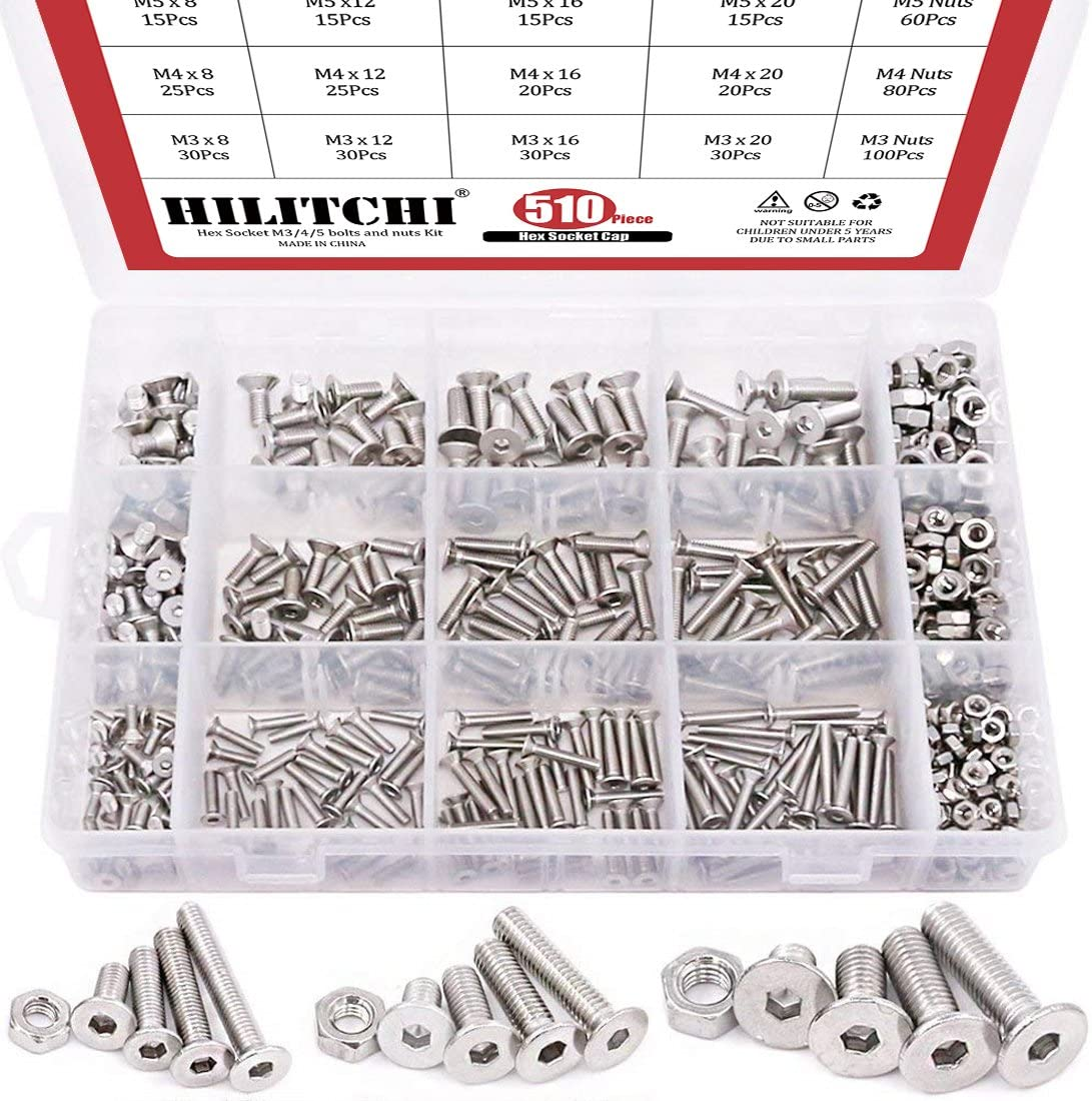 Hilitchi 510pcs M3 M4 M5 Stainless Steel Flat Head Hex Socket Head Cap Bolts Screws Nuts Assortment Kit - 304 Stainless Steel