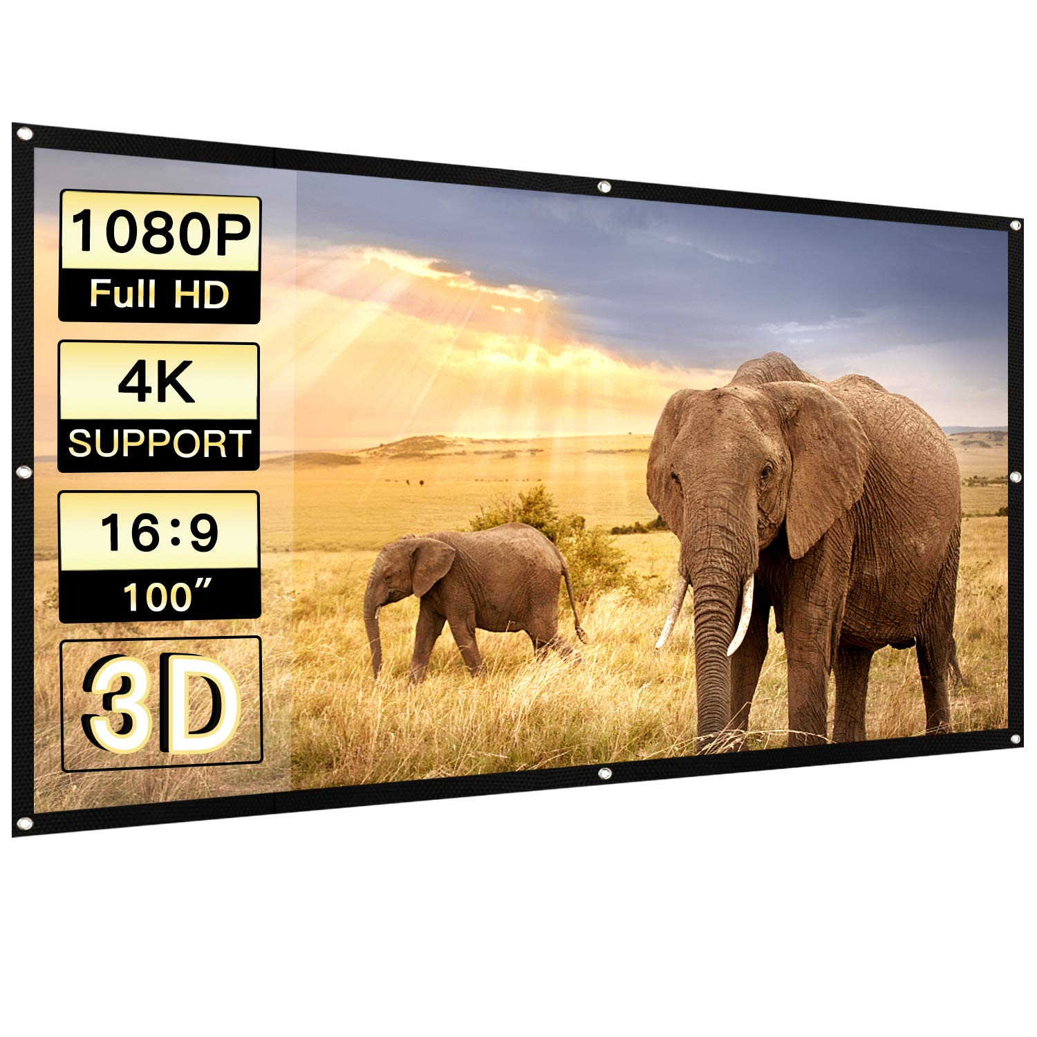 Perlesmith Portable Projector Screen 100 Inch 16:9 Widescreen for Outdoor Indoor Movie Home Theater Cinema, Rolled Up PVC Anti-Crease Diagonal Full HD 4K 3D Projection Screen Wrinkles Free