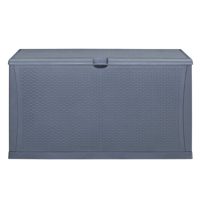 AINFOX Patio Storage Deck Box Outdoor Storage Plastic Bench Box All Weather Resin Wicker Deck Box Storage Container Bench Seat Brown