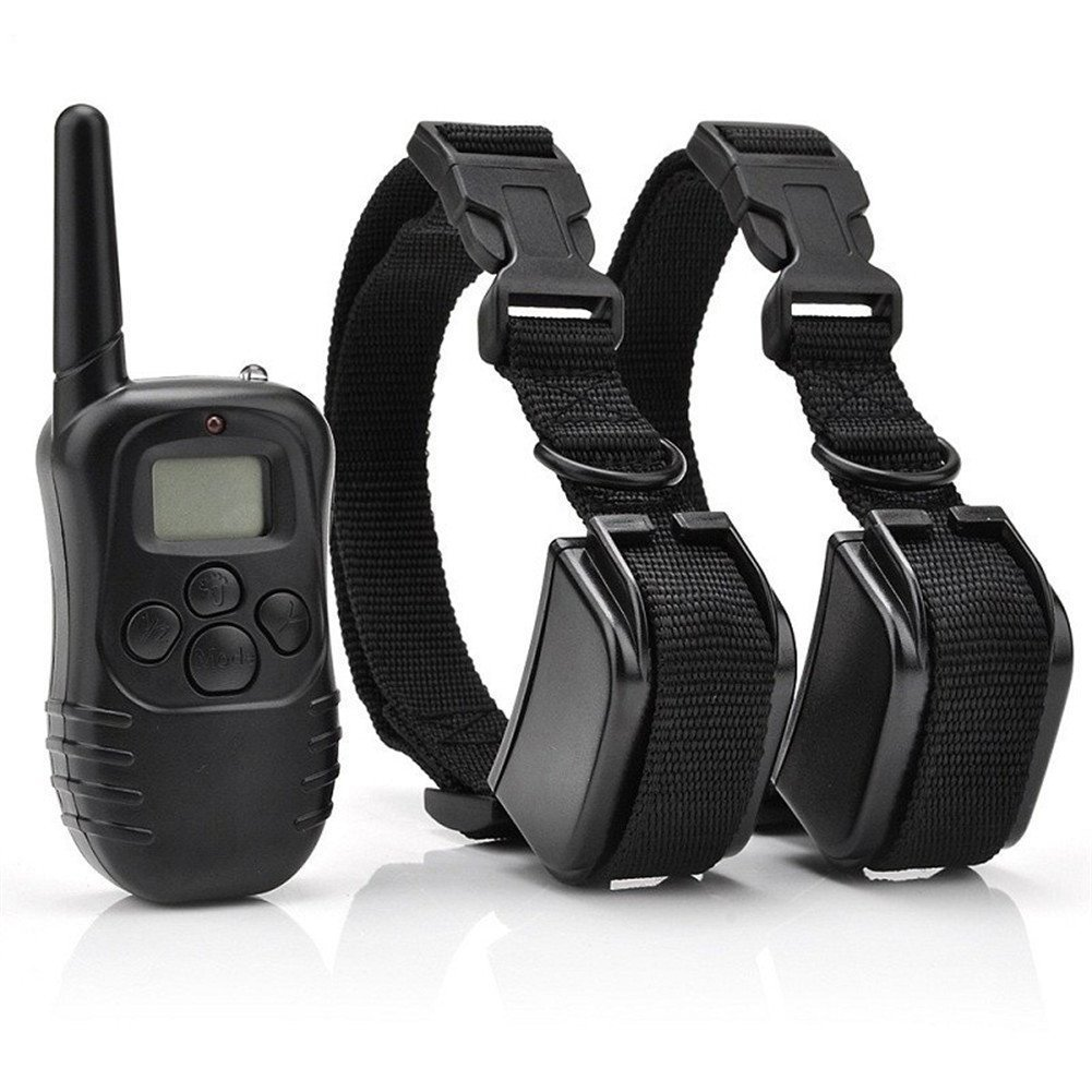 Rechargeable Remote Pet Dog Training Shock Collars For 1 dog Or 2 Dogs Trainer with Electronic Shock Vibration and Beeper Control (For 2 Dogs)