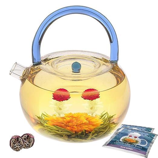 Set de tetera de cristal Blue Rainbow de Teabloom - 1200 ml tetera de cristal de borosilicato - tetera de cristal - incluidas 2 bolas de té de flores ...