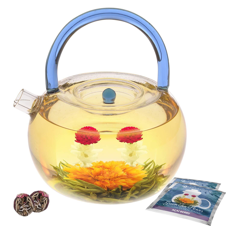 Teabloom Blue Rainbow Teapot Kettle Gift Set - 40 oz Stovetop Safe Glass Kettle & Teapot - 2 Blooming Tea Flowers Included - Metal Strainer - Microwave & Dishwasher Safe