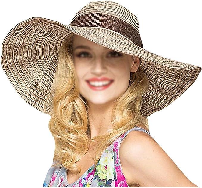 Sonnenhut Hut Mode Gro/ße Breite Krempe Hut Frauen Floppy Sommer Sonnenhut Damen Anti-Uv-Sonnenschutz Strandhut Weiblich Packbare Strohhut
