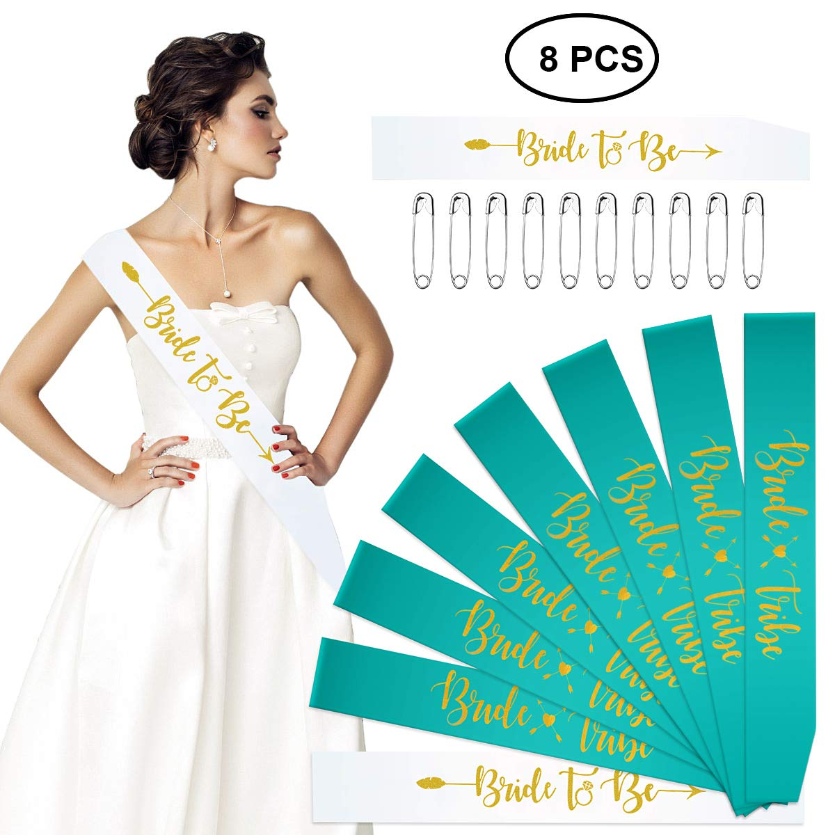 Bride to Be Gift Favours Bridal Shower Accessories Hen Bachelorette Party Sashes Set of 8 Bride Tribe Bridesmaid Sashes Mint Turquoise