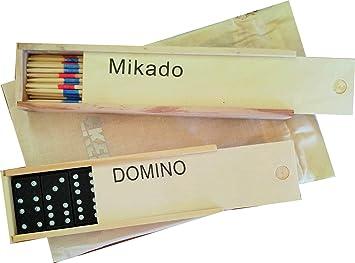 Pack 2 Juegos de Mesa Ekeko Dominó y Mikado. Ekeko Dominoes and Mikado Games. En Cajas de Madera: Amazon.es: Juguetes y juegos
