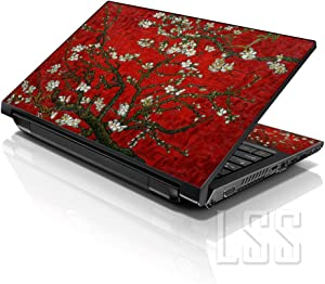 "LSS Laptop 15 15.6 Skin Cover with Colorful Red Almond Trees Pattern for HP Dell Lenovo Apple Asus Acer Compaq - Fits 13.3"" 14"" 15.6"" 16"" (2 Wrist Pads Free)"