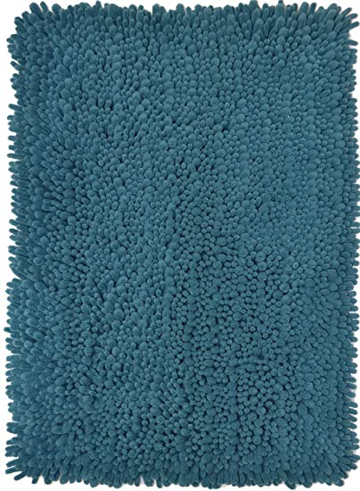 Momentum Home Machine Washable Microfiber Bristles Bathroom Rug with Non-slip Backing, 17 x 24-Inch, Teal