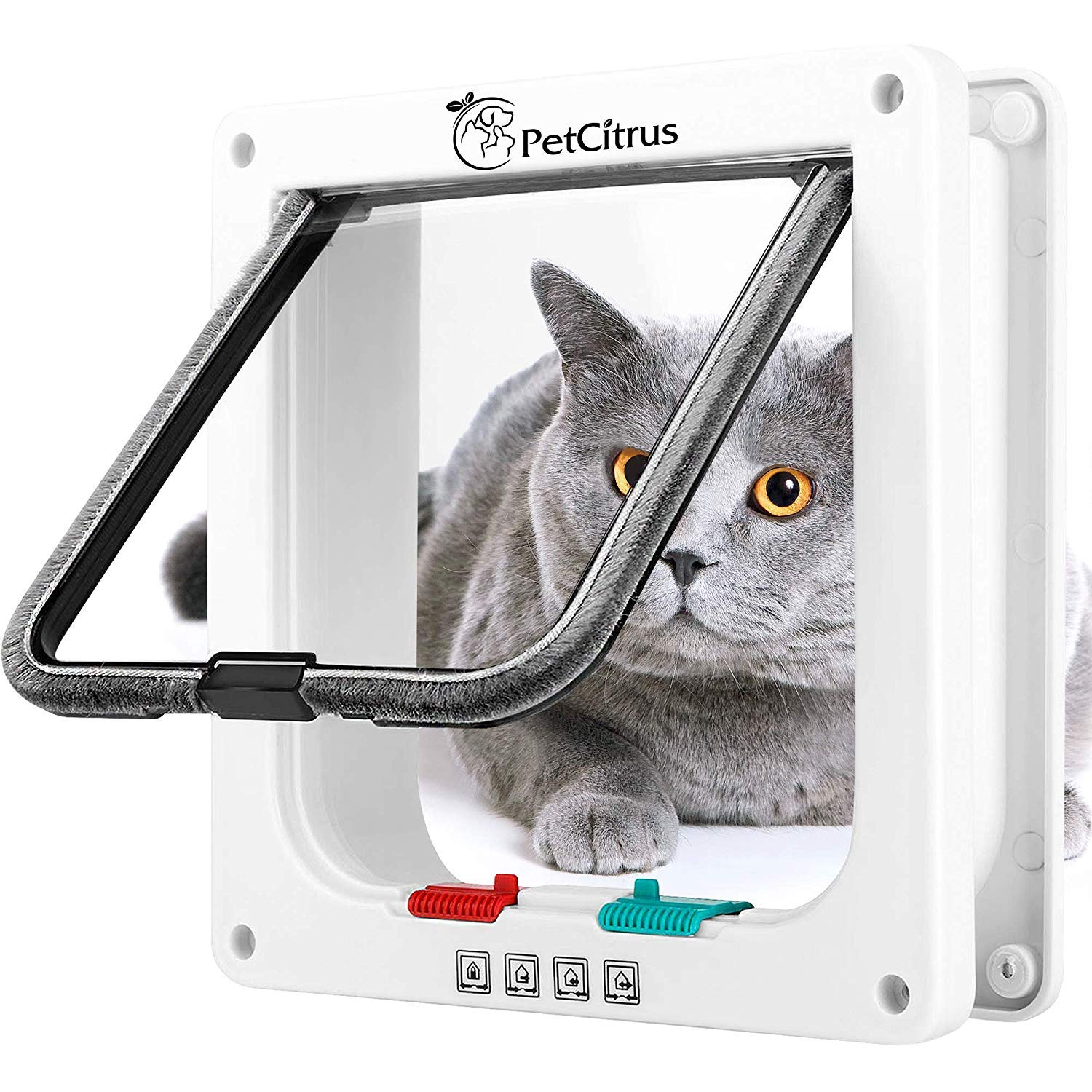 Cat Door Pet Doors by PetCitrus - 4 Way Locking Flap - for Interior Exterior - Indoor - Wall - Window - Weatherproof and Swinging Magnetic Door - Compatible with Large Cats - Kitty – Small Dog Doggy