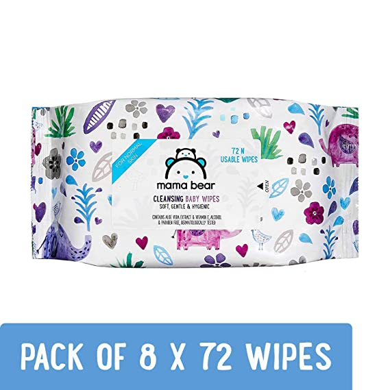 Amazon Brand - Mama Bear Cleansing Baby Wet Wipes - 72 Wipes/Pack (Pack of 8, Super Saver)
